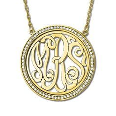 Monogrammed pendant set with affordable cz the look of diamonds with monogram initial necklace with diamond accents 14k yellow gold 034ct allurez aloadofball Images
