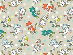 Skating Cats pattern via katuno.com