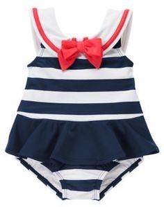 NWT Gymboree Blooming Nautical Sailor Bathing Suit Swim Baby Toddler Girl size 4