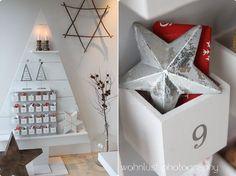 Wohnlust: O Tannenbaum, Wooden Shelf Christmas Tree with little cubbie Advent Calendar