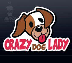 Crazy Dog Lady car decal sticker.