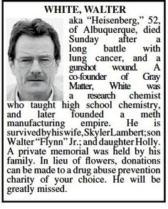 Walter White Obituary in Albuquerque Newspaper