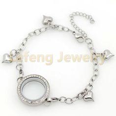 Locket Bracelet, Floating Lockets, 316l Stainless Steel, Heart Shapes, Jewelry Accessories, Crystals, Bracelets, Glass
