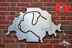 Filou Design Edelstahl Wandschild Boxer nach Züchterlogo