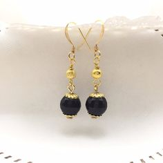 Gold Luster Beaded Earrings-Black by AudriasPrettyPieces on Etsy