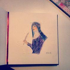 #drawing #sketchbook #pencil #colourpencil #sandwichpaper #HildegardvonBingen