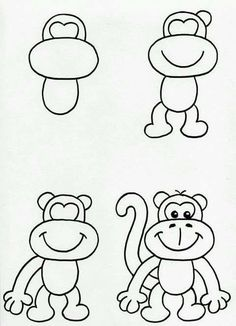 How to draw easy easy monkeys to draw met monkey drawing easy cartoon monkey drawing easy cartoon drawings simple monkey draw easy cat face Monkey Drawing Easy, Cartoon Monkey Drawing, Cartoon Drawings Of Animals, Art Drawings For Kids, Doodle Drawings, Disney Drawings, Drawing For Kids, Doodle Art, Art For Kids