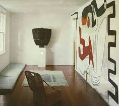 Ruth and Constantino Nivola's house with mural by Le Corbusier and sculpture by C. Nivola