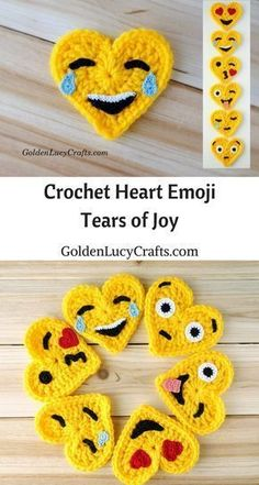 Crochet Emoji, Tears of Joy, Free Crochet Pattern, Valentines Crochet This Tears of Joy Crochet Emoji is number two in the series of six. This Emoji is also known as the Laughing Emoji. This Emoji is laughing so much that it is crying tears of joy. Marque-pages Au Crochet, Appliques Au Crochet, Beau Crochet, Crochet Mignon, Crochet Puff Flower, Crochet Motifs, Crochet Amigurumi, Crochet Flower Patterns, Love Crochet