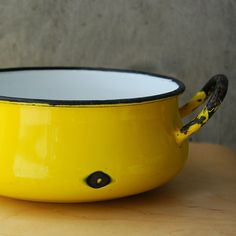 Vintage Yellow Enamel Stock Pot Pan Japan White Yellow by vint From vint on Etsy