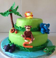 Petiscos da Sofia: Bolo de aniversário animais da selva Jungle Cake, Birthday Cake, Bolo Grande, Desserts, Food, Jungle Animals, Toddler Boy Birthday, Birthday Cakes, Snacks