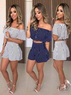 Cute and Casual Spring Outfits Cute Summer Outfits, Spring Outfits, Trendy Outfits, Fashion Outfits, Womens Fashion, Fashion Trends, Cute Summer Rompers, Mode Rockabilly, Two Piece Outfit