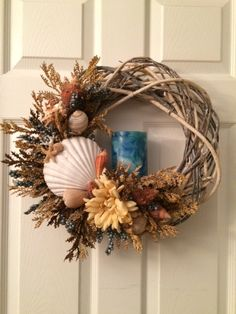 Blue Ivory Coral Seashell Wreath with LED by FloralsAndSpice
