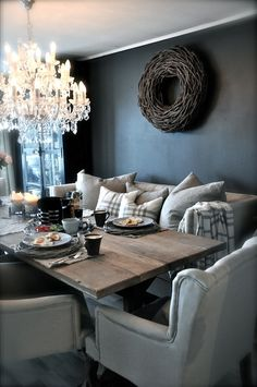 Love the idea of sofas instead of dining chairs
