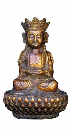 Unique Handmade Chinese Bronze Lotus Stand Sitting Buddha Statue wk2857S