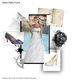 Trouwjurk off-white met purple en bijpassende accessoires Xsasa bruidsmode Groningen