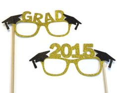Graduation Photo Booth Props- 2016 Graduation Glasses with Glitter- Pick your Glitter Color