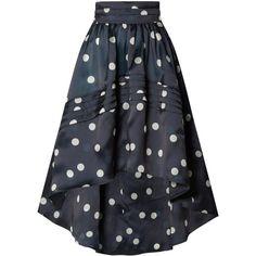GANNI Asymmetric polka-dot silk-organza skirt found on Polyvore featuring skirts, ganni skirt, asymmetrical skirts, polka dot skirts, ganni and dot skirt