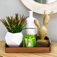 Metal cactus table top with wood part below. Cactus, Planter Pots, Metal, Gold, Ideas, Thoughts, Plant Pots, Yellow