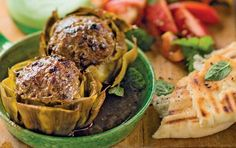 Artichokes stuffed with lamb and mint. Make a meal of these treasures. Christmas Breakfast, Recipe Search, Artichokes, Mini Foods, Food Festival, Salmon Burgers, Food Videos, Baking Recipes, Great Recipes