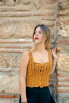 Little Treasures: Brigitte Crochet Top - pattern release Crochet Halter Tops, Crochet Crop Top, Crochet Blouse, Knitted Tank Top, Crochet Lace, Crochet Summer, Crochet Buttons, Crochet Instructions, Vintage Crochet