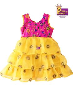 Items similar to Kids Pink Yellow 3 layer Embroidery Organza Party Gown on Etsy Kids Party Frocks, Kids Frocks, Baby Girl Dress Patterns, Baby Girl Dresses, Long Frocks For Kids, Kids Gown, Frock Design, Kids Outfits Girls, Party Gowns