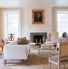 Charming neutral living room.  Love the soft color palette.
