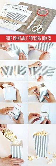 Hace vos misma estas cajas imprimibles para poner pochoclos o las golosinas que quieras!