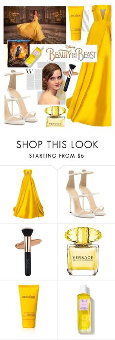 """""""xx"""" by callmelessie on Polyvore featuring Disney, Alex Perry, Giuseppe Zanotti, Versace, Decléor, Rodin, BeautyandtheBeast and contestentry"""
