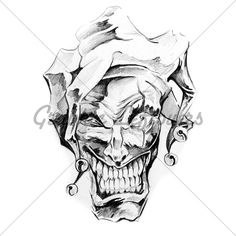 Sketch Of Tattoo Art, Clown Joker Skull flash art ~A.R.