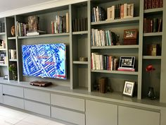 Tv Bookcase Wall Unit New Media Furniture the Bookcase Co Living Room Wall Units, Living Room Storage, Wall Storage, Home Living Room, Media Storage, Bookshelf Living Room, Living Room Cupboards, Playroom Storage, Built In Tv Wall Unit