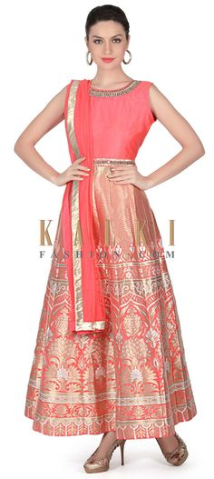 Buy this Pink and gold anarkali suit with embroidered neckline only on Kalki
