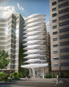 Zaha Hadid's first Brazilian building designed for Copacabana Beach.