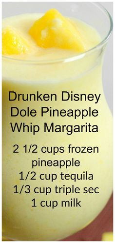 Drunken Disney Dole Pineapple Whip Margarita ~ So simple to make the the flavor is outrageously good! Drunken Disney Dole Pineapple Whip Margarita ~ So simple to make the the flavor is outrageously good! Refreshing Drinks, Yummy Drinks, Healthy Drinks, Healthy Eats, Dinner Healthy, Healthy Nutrition, Good Drinks, Nutrition Chart, Nutrition Store
