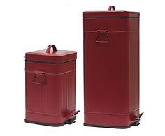 Set di 2 bidoni in metallo Squadrato rosso - max 27x31x85 cm