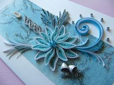 A beautiful handmade Christmas greeting card in blue and silver.It measures 105 mm x 180 mm / 4.13 x 7.08 / approx. It will be supplied with handmade