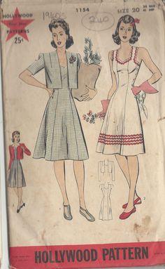 1940s Vintage Sewing Pattern B38 DRESS & BOLERO JACKET (240) HOLLYWOOD