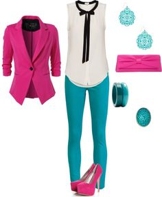 Pink and teal