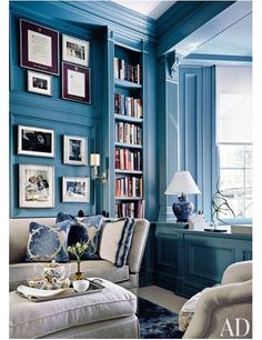 In a Manhattan apartment, the study's existing millwork was refreshed with a peacock shade, the sofa is by Avery Boardman, and the tea set is by Hermès.Pin it.