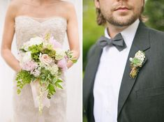 Be inspired by bridal bouquets brimming with delicate ferns ~ soft and neutral