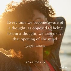 Every time we become aware of a thought, as opposed to being lost in a thought, we experience that opening of the mind. — Joseph Goldstein Quote from the Daily Calm