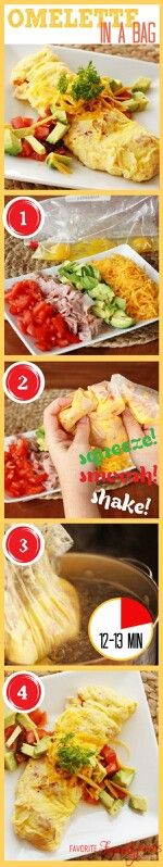 Omlette in a bag! Easy breakfast done. Great for a brunch party : ) Everyone gets to create their own omlette with their choice of toppings, boil, and serve.