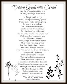 Down Syndrome Creed Printable from Table for 7