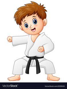 Vector illustration of Cute little boy doing karate Cute Cartoon Pictures, Boy Pictures, Pictures To Draw, Karate Boy, Judo Karate, Taekwondo, Karate Birthday, Boy Illustration, Cute Little Boys