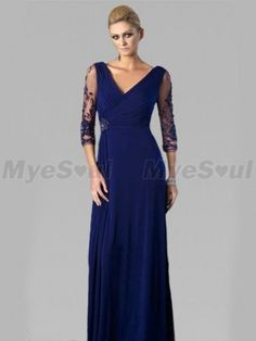 Spring Style Sheath / Column V-neck  Lace 3/4-Length Floor-length Chiffon Royal Blue Prom Dress / Evening Dress