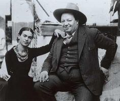 Frida Kahlo and Diego, I think this picture is a bit funny because she looks so tiny next to him!