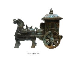 Chinese Oriental Jade Stone Carved Horse Cart Figure - Golden Lotus Antiques