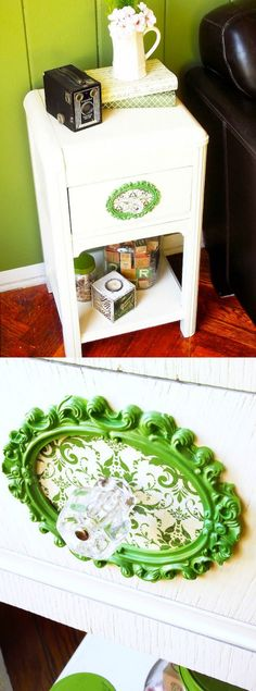 David's DIY side table makeover was missing something - so he used an inexpensive frame, scrapbook paper and Mod Podge to add a pop of color to the front.