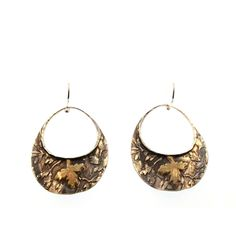 David Tishbi Oval Wave Falling Leaf Earrings - 14K Gold and Sterling Silver Oval Wave Falling Leaf Earrings