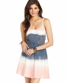 Angie Juniors Dress, Sleeveless Cutout Ombre-Print this <3